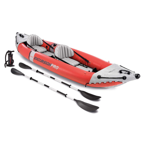Buy the Orange/gray Inflatable Double Sit-in Kayak -Explore Land N Sea