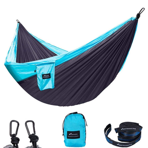 Light Blue Double Parachute Camping Hammock
