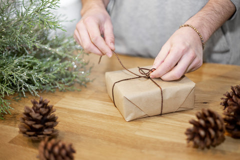 natural wrapping paper and accessories
