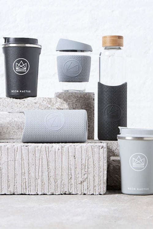 Collection of Coffee Travel Cups and Water Bottles in Grey & Black