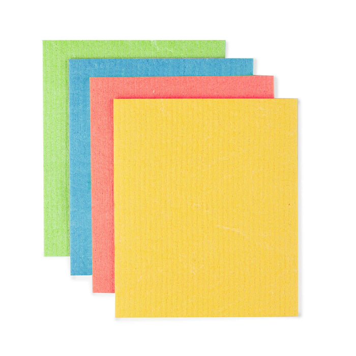 Eco Living Sponge Cloths Multicoloured Biodegradable Sponge Cleaning Cloths laid out