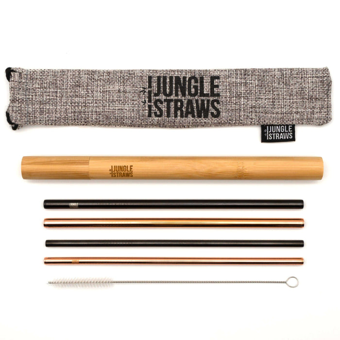 Jungle Culture Steel Straws Reusable Stainless Steel Straw Set with Bamboo Carry Case all parts laid out