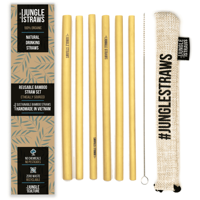Jungle Culture Straws 6 Reusable Bamboo Drinking Straws lined up