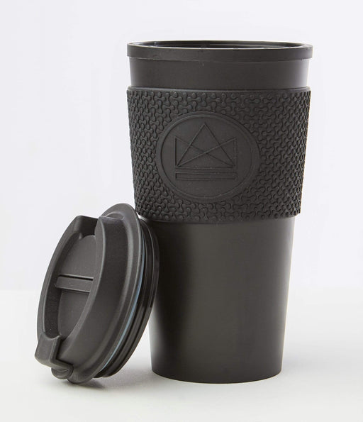 Neon Kactus Coffee Cup Double Walled Coffee Cups - Black Travel Mug lid off