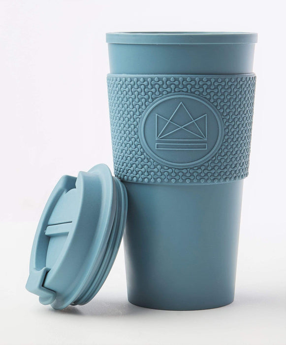 Neon Kactus Coffee Cup Double Walled Coffee Cups - Pastel Blue Travel Mug lid off