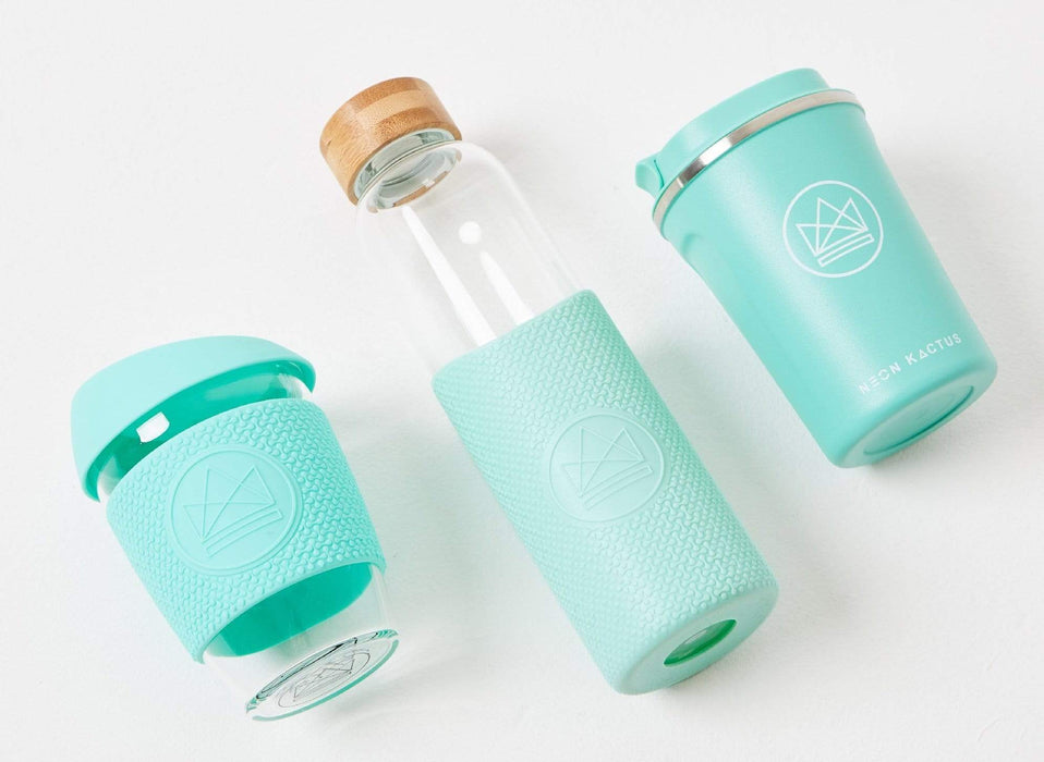 Neon Kactus Coffee Cup Glass Water Bottle - Turquoise - 16oz Water Bottle other designs laying down