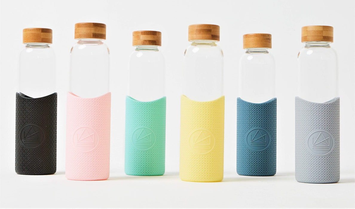 Neon Kactus Coffee Cup Glass Water Bottles - Yellow - 16oz Water Bottle multi-coloured ones lined up