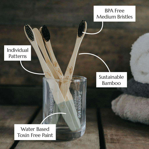 Wild & Stone Toothbrush Adults Bamboo Toothbrush - Medium Bristles - 4 Pack in jar with information