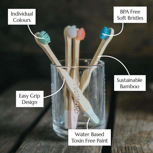 Wild & Stone Toothbrush Baby Extra Soft Bristles Bamboo Toothbrush in jar with information on sides