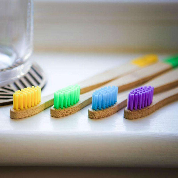 Wild & Stone Toothbrush Children's Bamboo Toothbrush - Soft Bristles - Multi Colours on edge