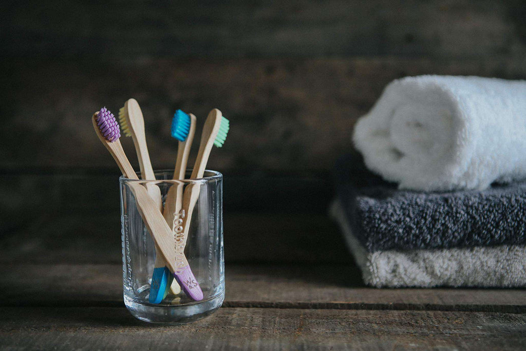 Wild & Stone Toothbrush Children's Bamboo Toothbrush - Soft Bristles - Multi Colours In jar