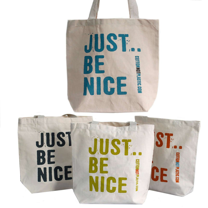 Zero Zen Eco bags Red Eco Cotton Bags - Just Be Nice 4 colour designs