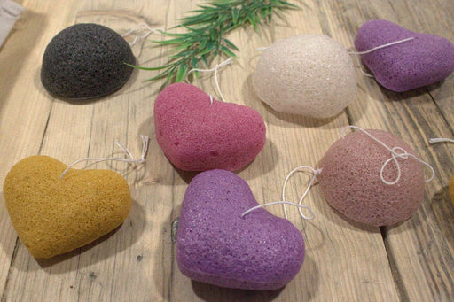 Konjac Heart sponge multiple coloured front  angle