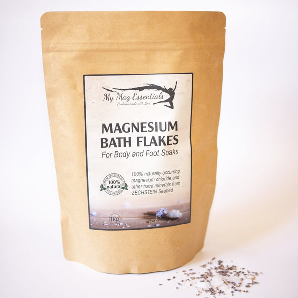 Magnesium Bath Flakes - for Body and Foot Soak 1kg Bag - Beyli Australia