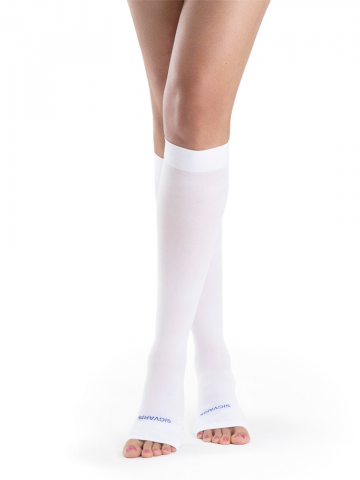 930 White Anti-Embolism Stockings Open Toe Calf & Thigh High with Grip Top Men & Women by Sigvaris - Footit Medical, CPAP, Stairlift, Orthotic, Prosthetic, & Mobility Supply