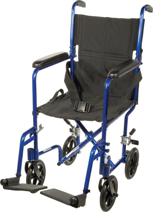 Blue Transport Wheelchair with 1 Year Warranty - Footit Medical, CPAP, Stairlift, Orthotic, Prosthetic, & Mobility Supply