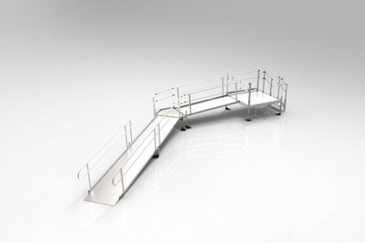 EZ Access 25FT-30FT Handicap Ramp, 1 Platform Turn, & Installation ADA Compliant - Footit Medical, CPAP, Stairlift, Orthotic, Prosthetic, & Mobility Supply