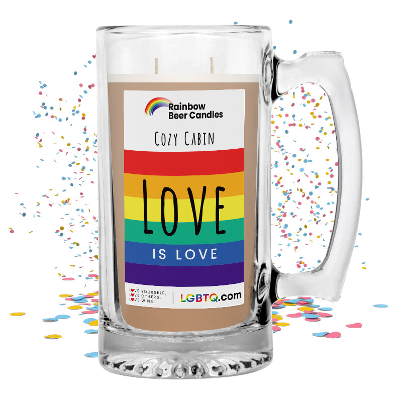 LGBTQ Cozy Cabin Rainbow Beer Candle
