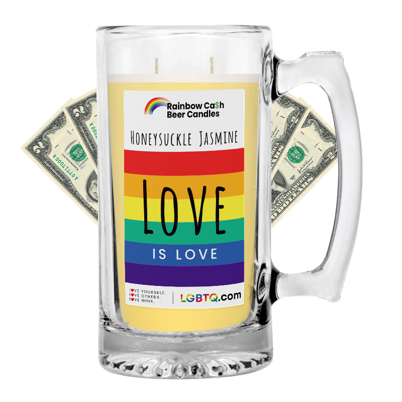 LGBTQ Honeysuckle Jasmine Rainbow Beer Cash Candle