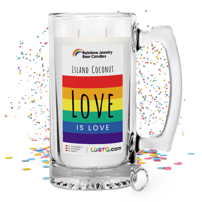 LGBTQ Island Coconut Rainbow Beer Jewelry Candle