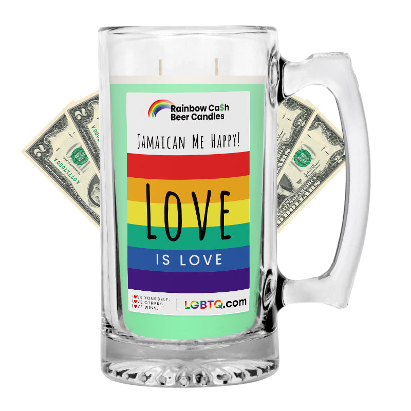LGBTQ Jamaican Me Happy! Rainbow Beer Cash Candle