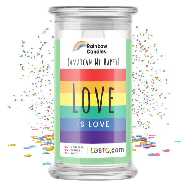 LGBTQ Jamaican Me Happy! Rainbow Candle