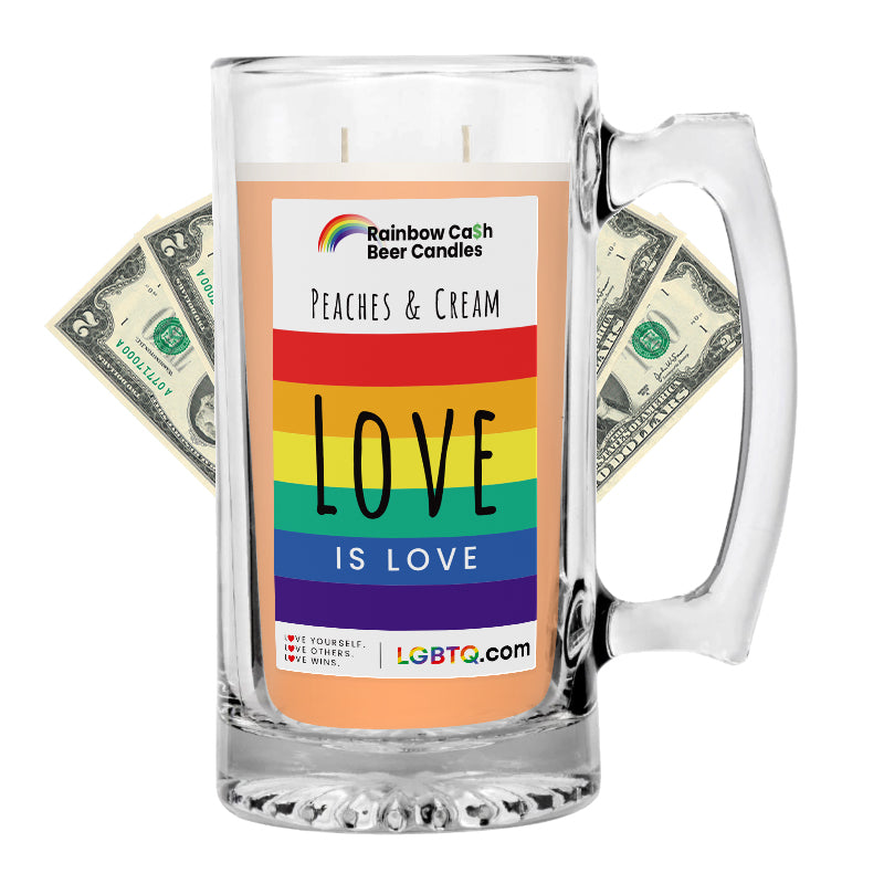 LGBTQ Peaches & Cream Rainbow Beer Cash Candle