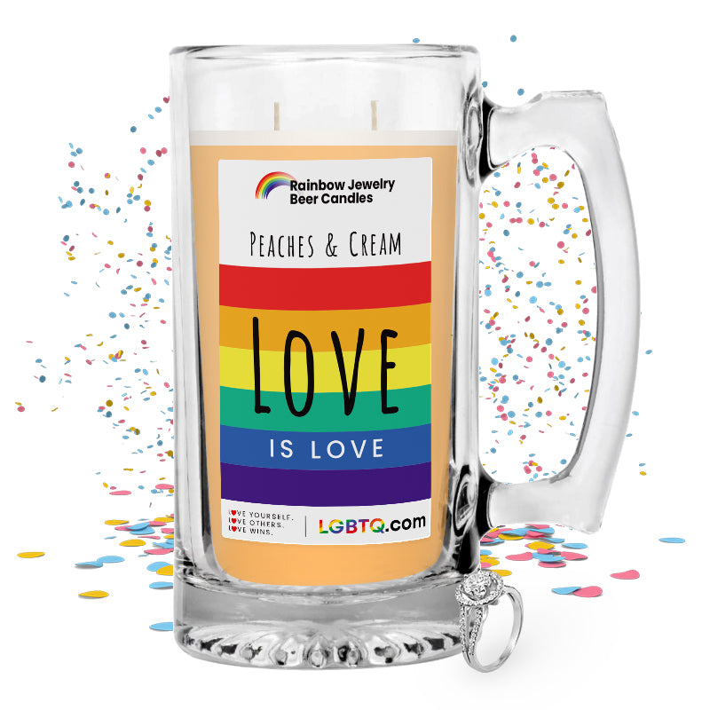 LGBTQ Peaches & Cream Rainbow Beer Jewelry Candle