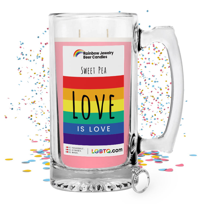 LGBTQ Sweet Pea Rainbow Beer Jewelry Candle