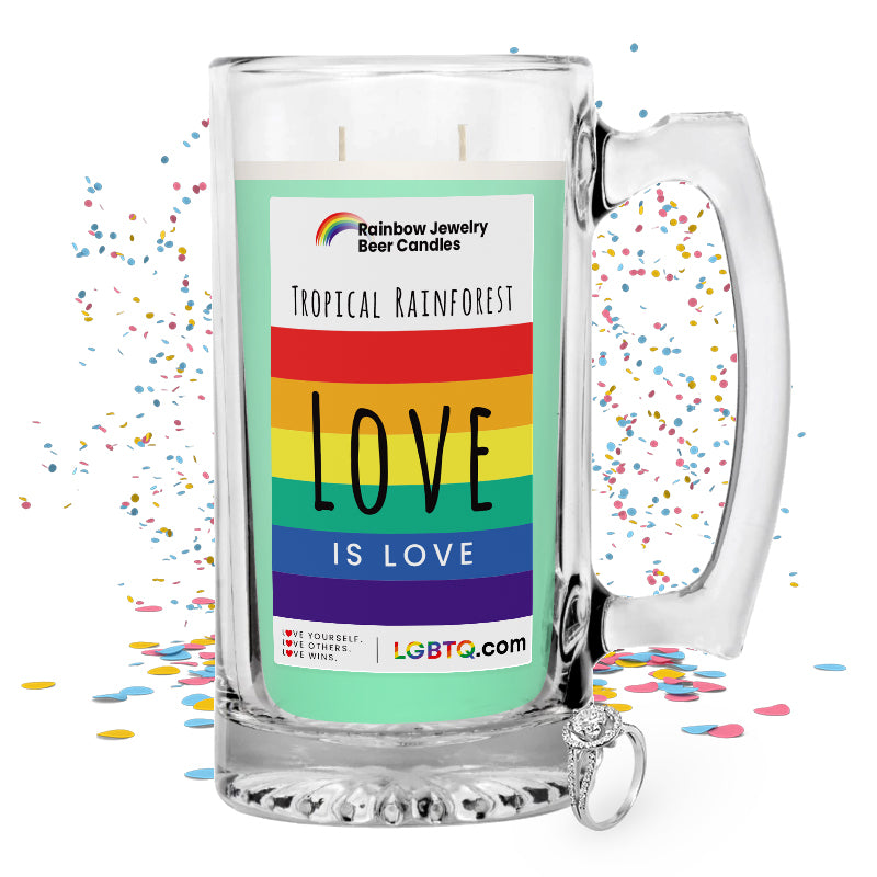 LGBTQ Tropical Rainforest Rainbow Beer Jewelry Candle
