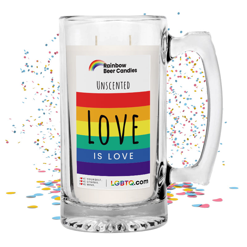 LGBTQ Unscented Rainbow Beer Candle