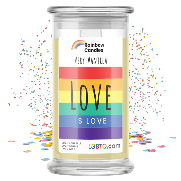 LGBTQ Very Vanilla Rainbow Candle