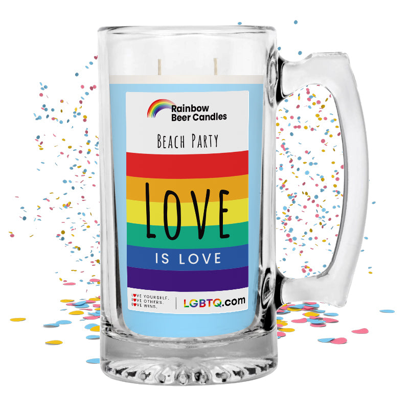 LGBTQ Beach Party Rainbow Beer Candle