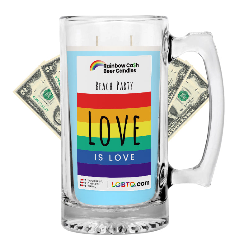 LGBTQ Beach Party Rainbow Beer Cash Candle