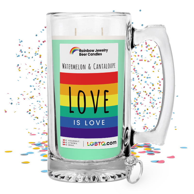 LGBTQ Watermelon & Cantaloupe Rainbow Beer Jewelry Candle