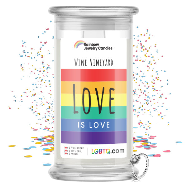 LGBTQ Wine Vineyard Rainbow Jewelry Candle