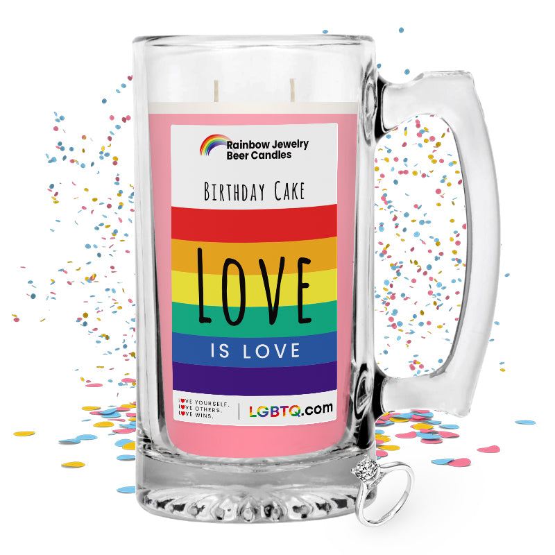 LGBTQ Birthday Cake Rainbow Beer Jewelry Candle