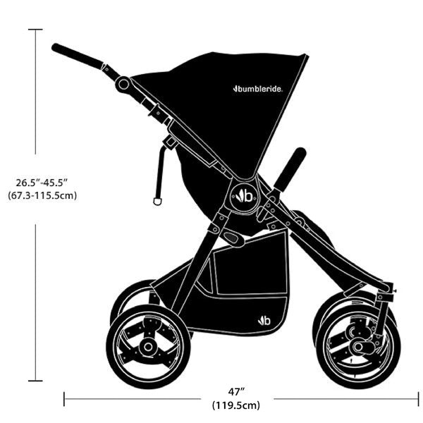 2020 Bumbleride Indie Twin Double Stroller Dimensions - Side Profile View