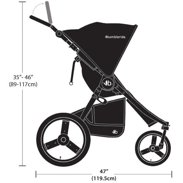 2021 Bumbleride Speed Dimensions - Side Profile View