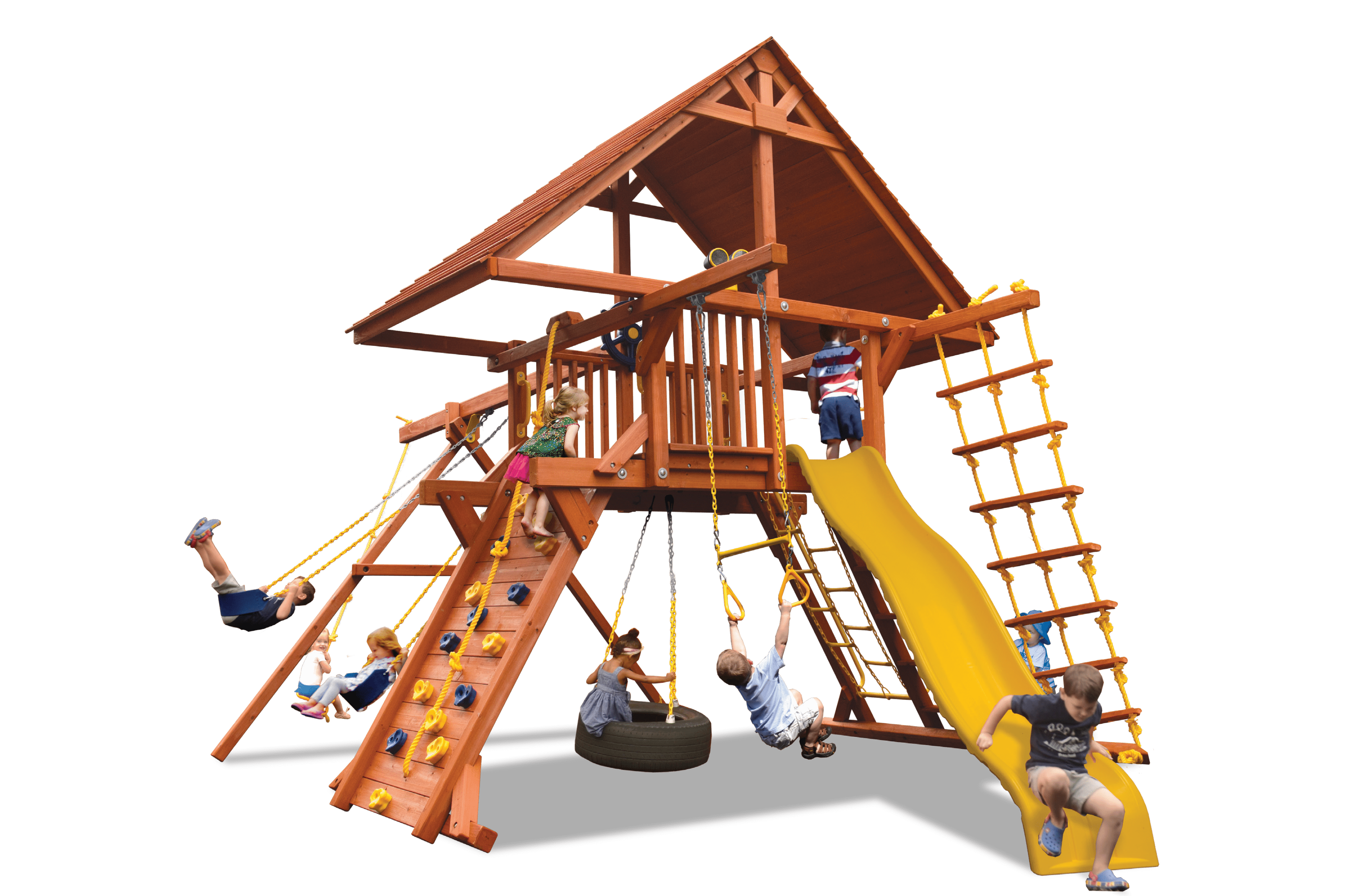 Deluxe Playcenter Combo 2 with Wood Roof (23B) - River City Play Systems