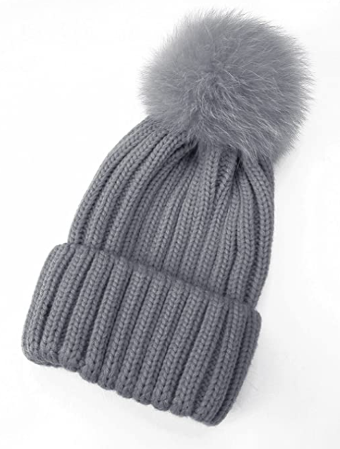 Brook Beanie with Real Fur Pom