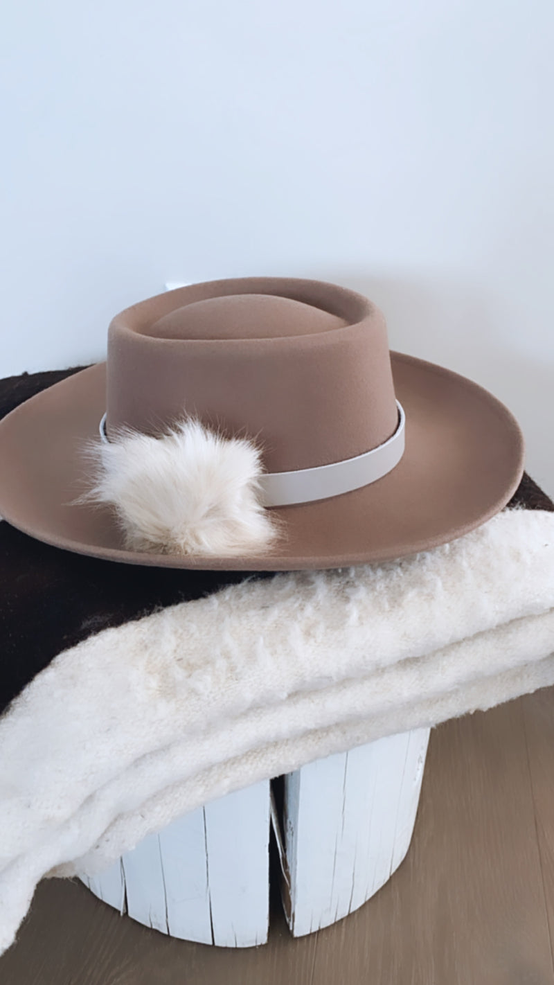 Faux Fur Pom for Wide Brim Hat