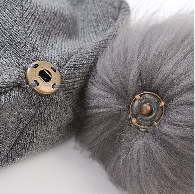 Georgia Cashmere Blend Beanie with Real Fur Pom