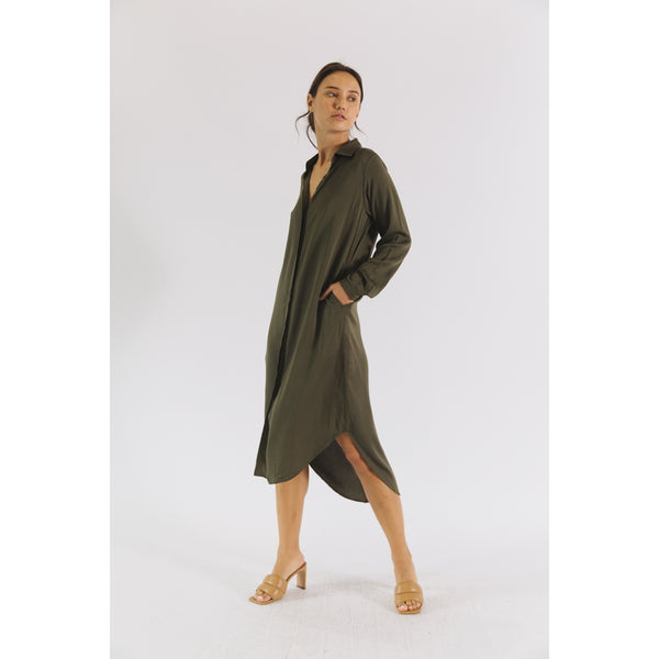 Gia - Olive Shirt Dress