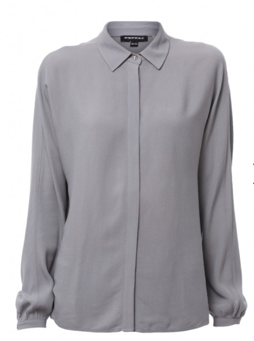 REPEAT Blue Grey Silk Shirt