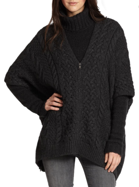 Vince Cable Knit Zip Poncho