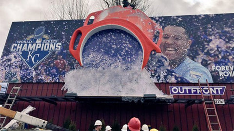 Billboard showing Kansas City Royals catcher Salvador Pérez doing his signature Gatorade splash!