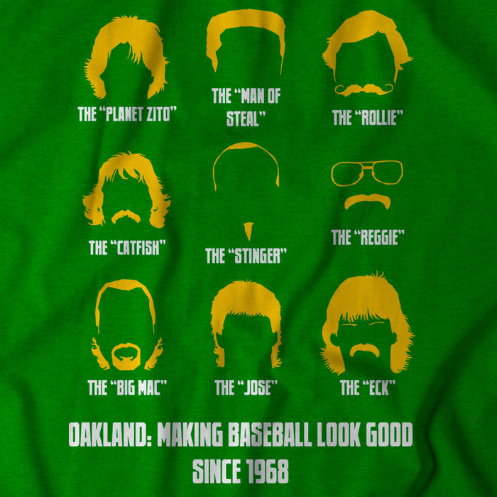 Green Oakland A's shirt celebrating the many trendsetting hairstyles of the team's legendary players.