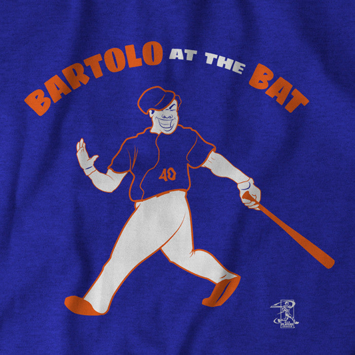 "Blue ""Bartolo at the Bat"" tee, in white and orange print, celebrating the New York Mets pitcher's first home run, which took out a tree limb during batting practice."