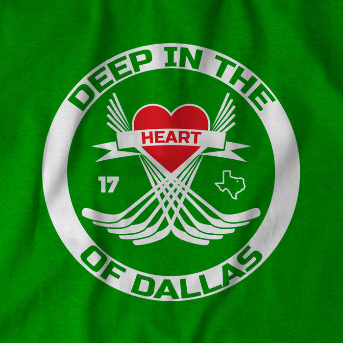 "Green ""Deep in the Heart of Texas"" shirt honoring Dallas Stars center Rich Peverley."